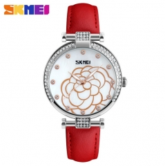 SKMEI Women Fashion Watch Leather Strap Ladies Quartz Watch Luxury Waterproof Casual Wristwatch white 22cm