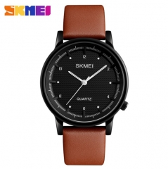 SKMEI Men Quartz Watch Minimalist Waterproof Sport Watches Leather Strap Luxury Fashion Wristwatches All Black 25cm