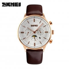 SKMEI Fashion Luxury Watches Men Business Quartz Wristwatches Waterproof Leather Casual Watch brown 25cm