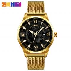 SKMEI Fashion Quartz Men Luxury Business Watch Stainless Steel Waterproof Wristwatches Male Clock black 25cm