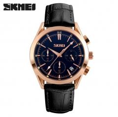 SKMEI Men Quartz Watches Luxury Fashion Casual Wristwatches Waterproof Calendar Leather Watch black 25cm