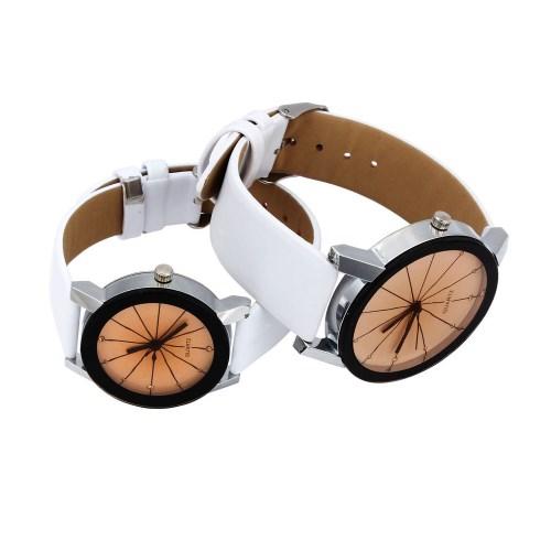 Couple Watches Women/Men Fashion Watch Quartz Dial Clock Lovers Casual Leather Watch Couple White 22cm
