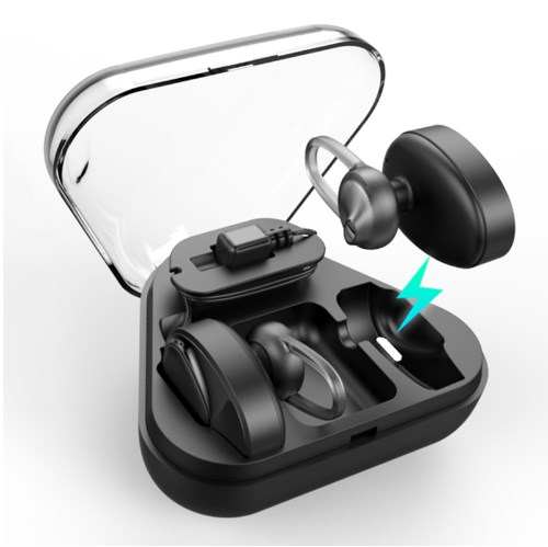 TWS Bluetooth Headset  Headphones Wireless Earbuds Stereo Sports Earphones  For All Mobile Phone Black With Charger Box