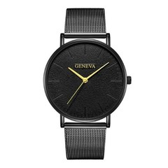 Men Watches Luxury Stainless Steel Mesh Quartz Wristwatches Fashion Clock Women Watches Black Black Gold 23cm