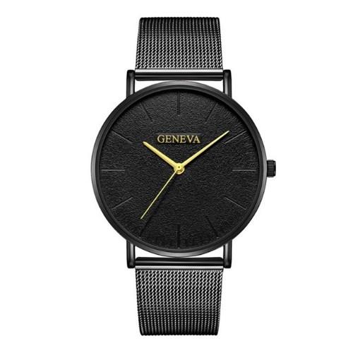 Men Watches Luxury Stainless Steel Mesh Quartz Wristwatches Fashion Clock Women Watches Black Black Gold 23cm