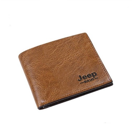 Men Wallets Pu Leather Jeep Wallets Classic Short Multi-card Purse Credit Business Card Holders Light Brown 10*11.5*0.5