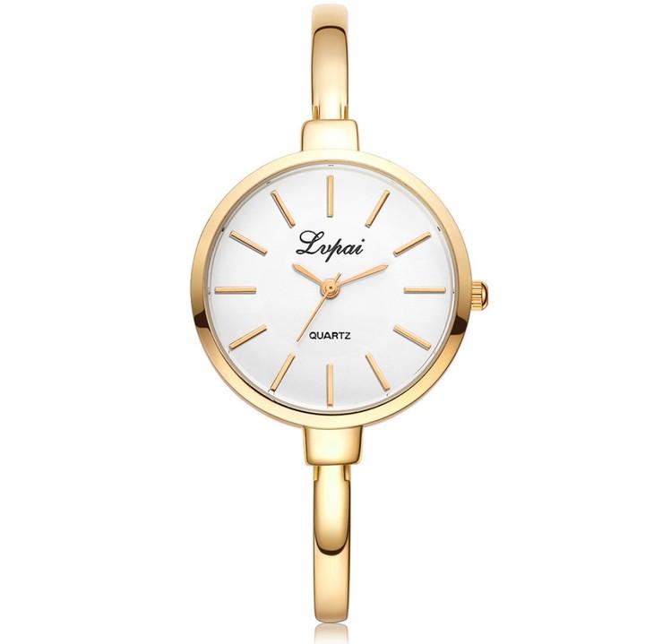 Lady Fashion Rhinestone Watches Women Watch Luxury Stainless Steel Bracelet Watches Quartz Clock gold 23CM