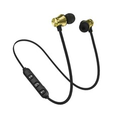 Bluetooth Earphone Magnetic Headphones Wireless Sports Bass Music Stereo With Mic Headset gold