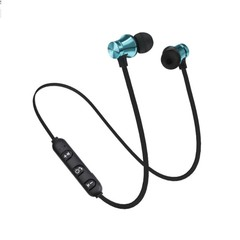 Bluetooth Earphone Magnetic Headphones Wireless Sports Bass Music Stereo With Mic Headset blue