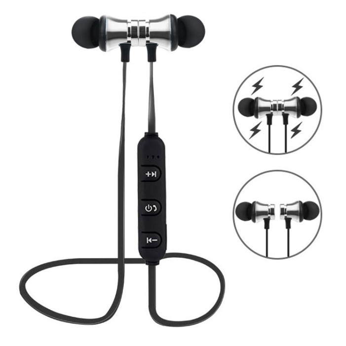 Bluetooth Earphones Magnetic Headphones Wireless Sports Bass Music Stereo With Mic Headset silver
