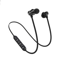 Bluetooth Earphones Magnetic Headphones Wireless Sports Bass With Mic Headset For All Smart Phones gray