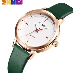 SKMEI Fashion Ladies Watches Leather Female Quartz Watch Women Thin Casual Strap Waterproof Watch Green White 22cm