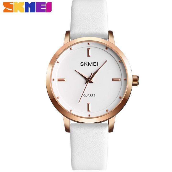 SKMEI Fashion Ladies Watches Leather Female Quartz Watch Women Thin Casual Strap Waterproof Watch All White 22cm
