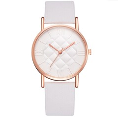 Women Fashion Watch Dress Quartz Leather Watch Luxury Casual Ladies Wristwatch white 23cm