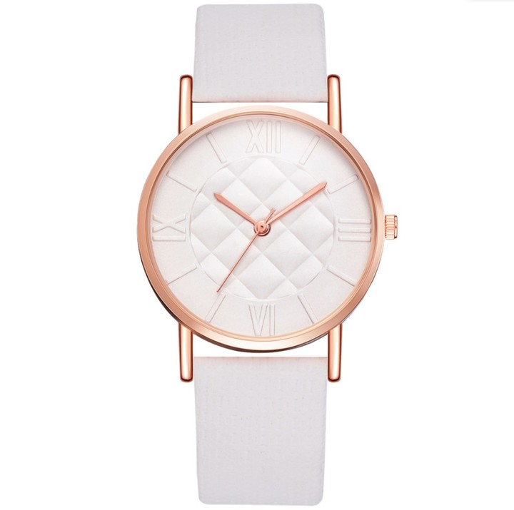 Women Fashion Watches Dress Quartz Leather Watch Luxury Casual Ladies Wristwatch white 23cm
