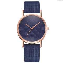 Women Fashion Watch Dress Quartz Leather Watch Luxury Casual Ladies Wristwatch blue 23cm