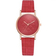 Women Fashion Watch Dress Quartz Leather Watch Luxury Casual Ladies Wristwatch red 23cm