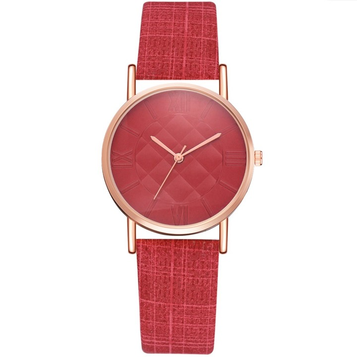 Women Fashion Watches Dress Quartz Leather Watch Luxury Casual Ladies Wristwatch red 23cm