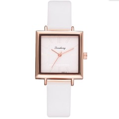 2019 Square Women Bracelet Watch Contracted Leather Crystal WristWatches  Dress Ladies Quartz Clock white 23cm