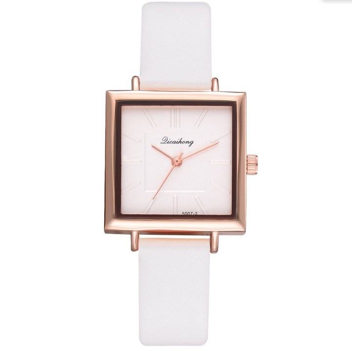 Women Watches Bracelet Square Leather Watch Crystal Wristwatches Ladies Quartz Clock Lovers Gift white 23cm
