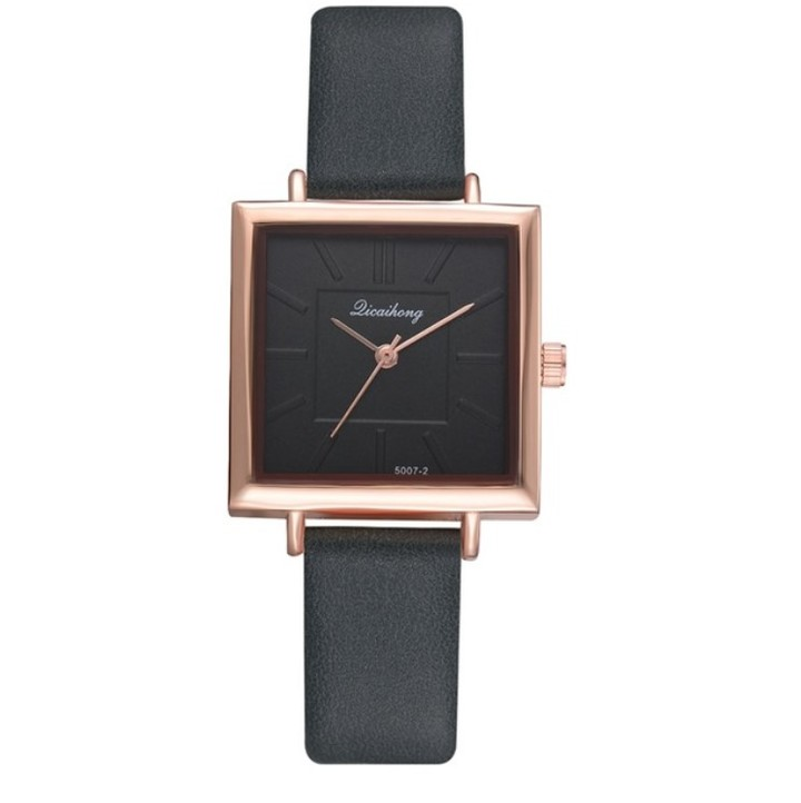 Women Watches Bracelet Square Leather Watch Crystal Wristwatches Ladies Quartz Clock Lovers Gift green 23cm