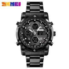 SKMEI Digital Quartz Watch Men Outdoor Sports Watch Countdown Full Steel Strap Wristwatch Clock black 25cm