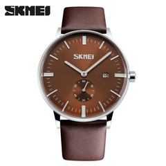 SKMEI Mens Watches Quartz Watch Casual Leather Men Wrist Watch 30M Waterproof Date Male Clock brown 25cm