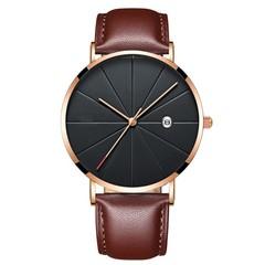 Luxury Watches Men Blue Stainless Steel Ultra Thin Watches Men Classic Quartz Date Men's Wrist Watch brown 25cm