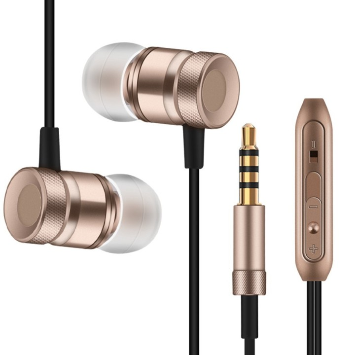 Super Bass Stereo Metal Earphones 3.5mm Jack Headset Free Hands Headphones With Mic For Phone PC gold