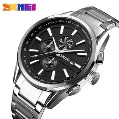 SKMEI Men's Luxury Brand Chronograph Mens Sports Watches Waterproof Stainless Steel Quartz Watch black 25cm