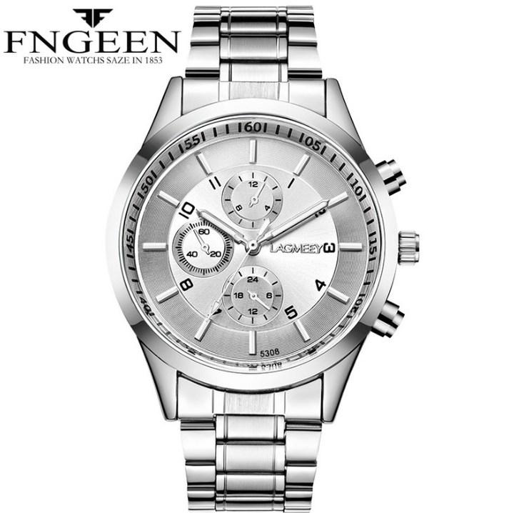 Luxury Men Watches Waterproof Date Clock Male Sports Watches Men Quartz Metal Steel Wristwatch white 25cm