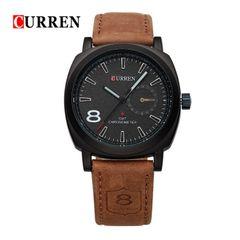 Genuine Curren Men Watches Fashion Sports Quartz Watches Leather Military Watch Gifts black 28cm