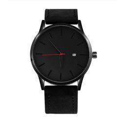 Genuine Men Watches Dial Military Quartz Leather Sport Watches Male Business Wristwatch black 28cm