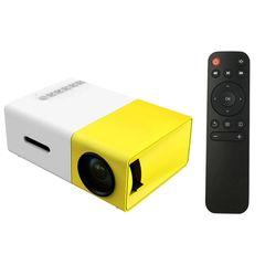 LED Mini Projector 320x240 Pixels Supports 1080P HDMI USB Audio Projector Home Media Video player yellow 12cm