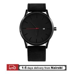 Genuine Men Watches Dial Military Quartz Leather Sport Watches Male Business Wristwatch black 28cm