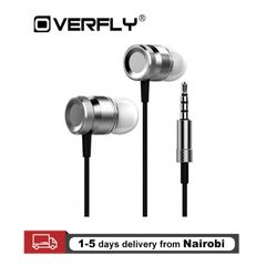 Super Bass Stereo Metal Earphones 3.5mm Jack Headset With Mic For All Smart Phones Gray