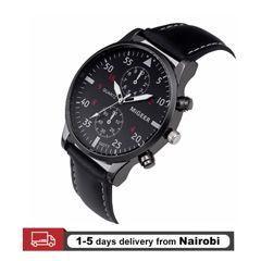 Genuine Migeer Men Watches Leather Straps Stainless Steel Quartz Man Wristwatch Gifts black 22cm