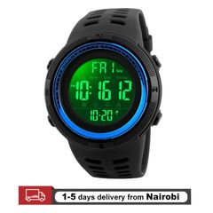 SKMEI Men Watches Sport Electronics Digital LED Quartz Watches Waterproof Alarm Watches Gifts blue 25CM