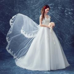 2017 new wedding shoulder lace print slim Qi wedding white xxl