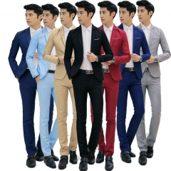 The explosion suits two piece suit men's slim men. blue m