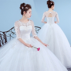 Middle sleeve wedding dress a lace wedding dress as  picture s