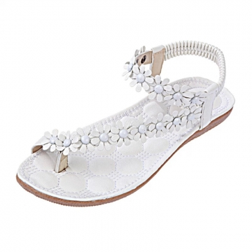 Casual toe flowers flat with flat sandals 669 white 38
