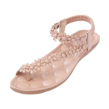 Casual toe flowers flat with flat sandals 669 apricot 37