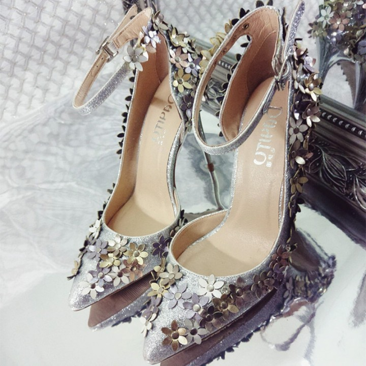 Sexy single flower buckle shoes A0067 silver 35