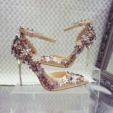 Sexy single flower buckle shoes A0067 gold 38