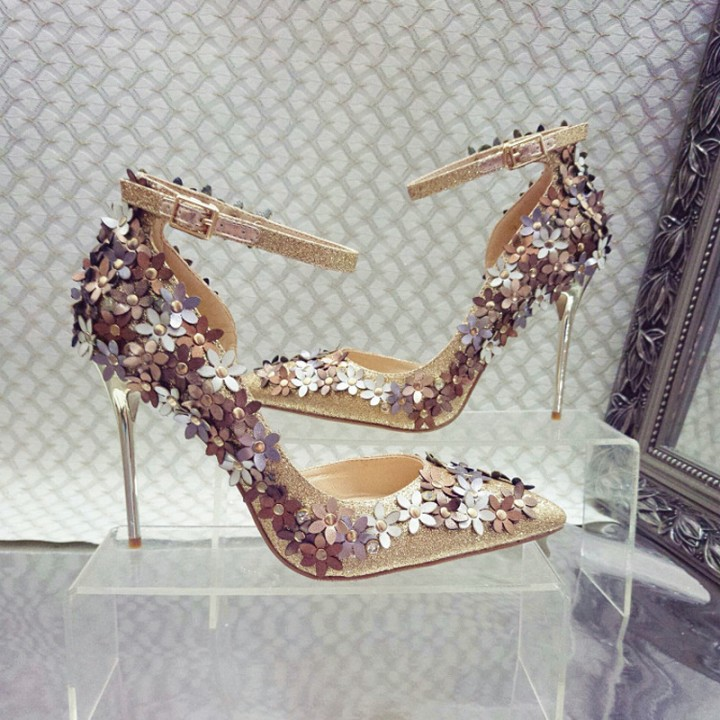Sexy single flower buckle shoes A0067 gold 35
