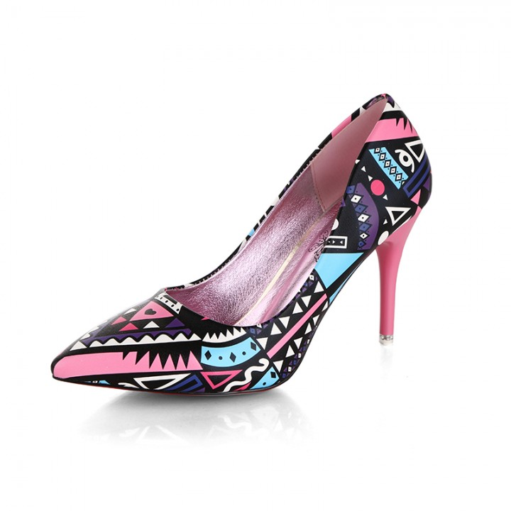 Europe and the irregular pattern heel shoes 918 pink 39