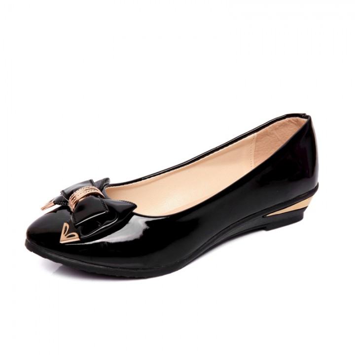 Sweet bow with a small flat with a single shoes 518 black 38