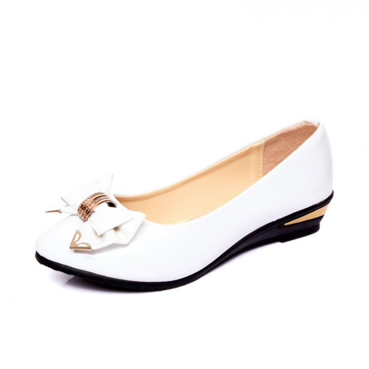 Sweet bow with a small flat with a single shoes 518 white 35