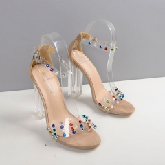 High-heeled crystal with coarse sandals large size FD193-10 apricot 40